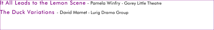 It All Leads to the Lemon Scene - Pamela Winfry - Gorey Little Theatre The Duck Variations - David Mamet - Lurig Drama Group   Final Adjudication and Awards Ceremony